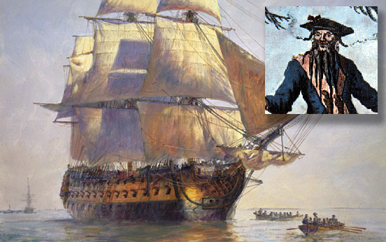 Blackbeard\'s Queen Anne\'s Revenge ship inset with image of Blackbeard